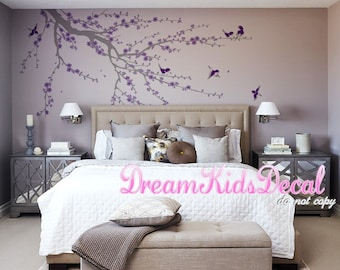 tree branch wall decal and Floral wall decal, birds, nature wall decals wall sticker, Murals, Wall graphics-Cherry blossoms Tree Decal-DK213