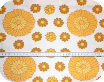 Floral retro vintage fabric - yellow, orange, brown and pink
