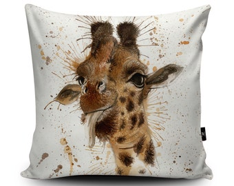 "Giraffe Cushion, Giraffe Pillow, Giraffe Cushion Cover, Giraffe Pillow Case, Giraffe Decor, Giraffe Homeware, 45cm/60cm, 18""/23.6"" Vegan"
