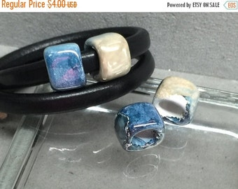 On Sale NOW 25%OFF Greek Ceramic Spacer Beads For Licorice Leather Dark Blue Ocean CB649 Qty 2