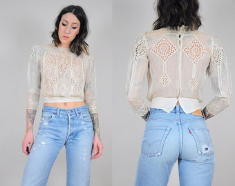 1910s Edwardian antique lace blouse
