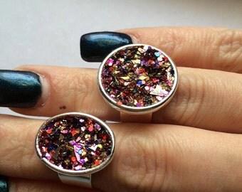 German Glass Glitter Rings