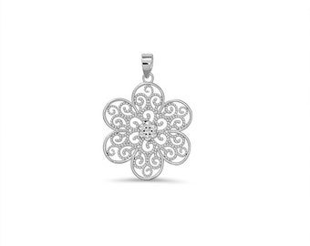 65% OFF SALE - Sterling Silver Flower Pendant