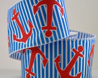 "2 1/2"" Anchor and Stripe Nautical  Wire Edged Ribbon"