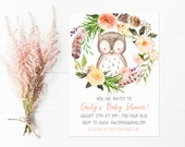 Owl Baby Shower Invitation, Woodland Baby Shower with Flower Wreath