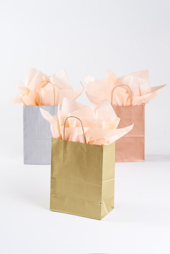50 Gold Gift Bags with Handles for Wedding Guests Welcome