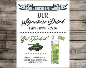 Military Signature Drink Sign // Military Wedding Sign