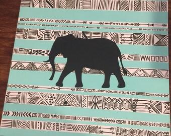 Line art Elephant Silhouette Acrylic Painting 18x18