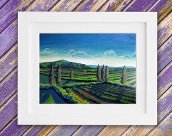 Landschaftsmalerei surrealismus  Vineyard painting | Etsy