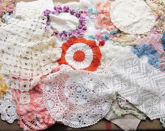 60 vintage crochet and tatting doilies destash doilies