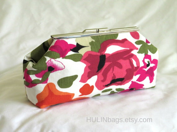 Floral Clutch Clutch Purse White Pink Orange And Green