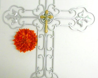 Silver Wall Cross, Unique Wall Crosses,Crosses For Sale, Large Metal Cross, Cross Wall Decor,Large Wall Cross,Scroll Cross,Unique Wall Cross