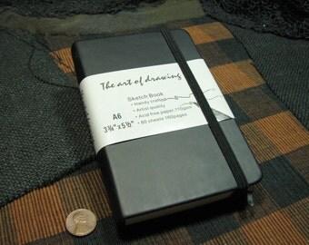 Travel Sketch book, drawing journal, little black book, sleek cover, illustration (item 3013)