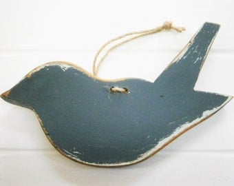 Charcoal Painted Distressed Wood Hanging Bird