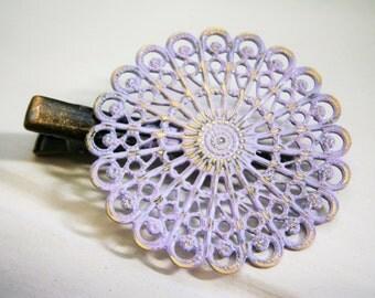 Amethyst/Lilac Hand Painted Patina Antique Bronze Round Filigree Shabby Chic Alligator Hair Clip/Boho Hair Clip/Rustic Hair Clip