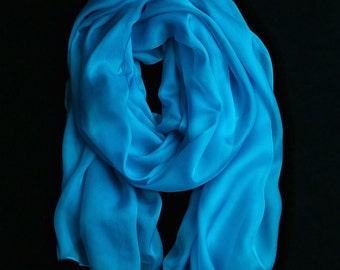 Sky Blue Chiffon Scarf  -Sky Blue Headpiece - Sky Blue Chiffon Scarf