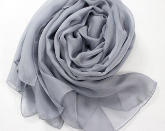 Light Grey Chiffon Scarf - Light Gray Chiffon Scarf-30D23