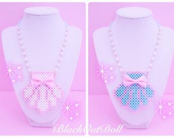 Seashell Mermaid Aquatic Ocean Clam Kawaii Harajuku Fairy Kei Lolita Decora Perler Hama Bead Necklace