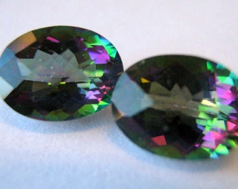Two Natural oval Mystic Topaz 8mm x 6mm 3.0cts total - treated - coated gemstones