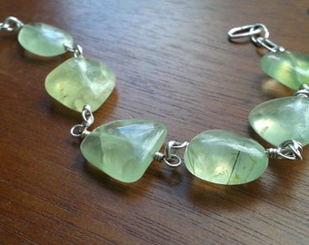Pale Green Prehnite & Sterling Silver Bracelet -Crystal Healing, Balance, Forgiveness, Spirituality, Connection, Lucid Dreaming
