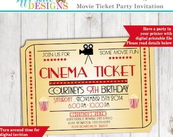 Movie Night Invitation - Movie Ticket Invitation - Cinema - Birthday - Custom Printable