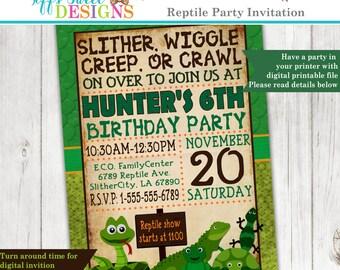 Reptile Party Invitation - Frog - Snake - Lizard - Invite - Custom - Printable