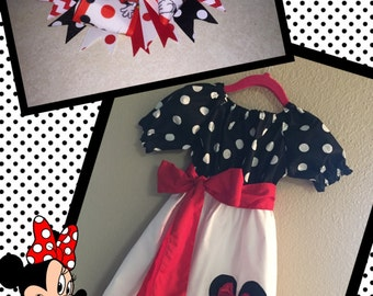 Girls Minnie Mouse Dress and Matching Bow