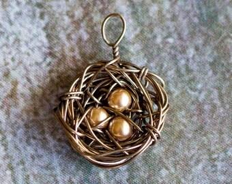 Antique Bronze Nest Charm