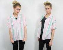 Vintage Pastel Short Sleeve Button Up Shirt Blouse vtg 281