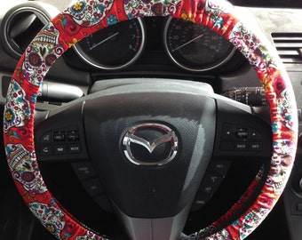 Red Sugar Skull Dia de los Muertos Steering Wheel Cover