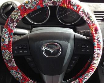 Red Sugar Skull Dia de los Muertos Steering Wheel Cover