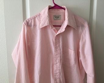Vintage Men's Shirt - Arrow brand - pink cotton poly blend - large size - great condition