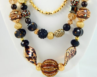 Bead Necklace Jewelry,Beaded Necklace,Unique Necklaces for Women,Statement Necklace,Chunky Necklace Statement,Gold Statement Necklace,Unique