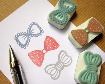 Ribbon Bow Tie rubber stamps - set of 3