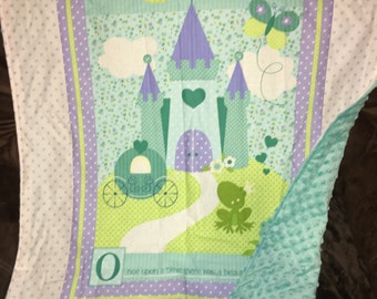 CLEARANCE***Princess theme baby blanket with minky back Ready to ship!!