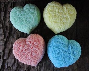 Lovely Rose Covered Shea Butter Heart Soap Favor Wedding, Bridal Shower, Birthday, Baby Shower Favor, Gift 2.6 oz.
