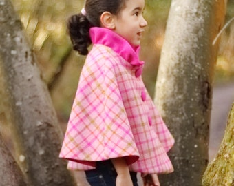 Size 5-6 years Girls Harris Tweed Collared Cape, Girls Cape, Winter Cape, Tweed Cape, Wool Cape, Poncho (Bright Pink Check) READY TO SHIP