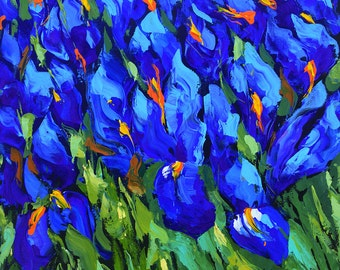 Blue Irises  - OIL PALETTE KNIFE Painting on canvas by Dmitry Spiros. 32x32 in. (80 x 80 cm)