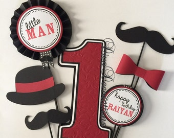 Little Man Mustache Birthday Party Centerpiece CUTOUTS ONLY