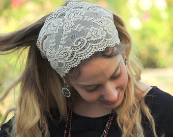 Stunning Cream Lace Headband Bandana, Tichel, Head Covering,scarf, Half Coveing, Pre-tied,loss Hair
