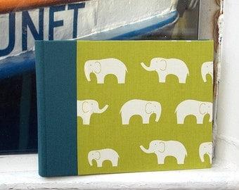 Small photo album, baby album, photos, birth, christening, fabric photo album, personalized, school supplies, green with white elephants