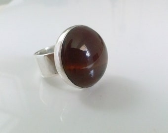 Round  Red Jasper Silver Ring handmade with a round  gemstone and Fine silver, statement ring, concktail