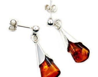 Natural Baltic Amber & .925 Sterling Silver Dangle Earrings , X701