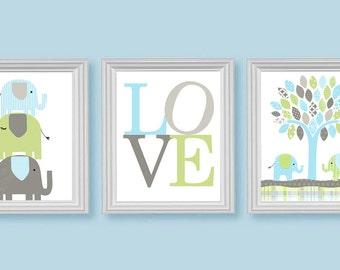 Elephant Nursery Decor, Love Print, Jungle Nursery, Safari Nursery, Baby Boy's Room, Blue Green Brown Beige, Baby Decor, Set of Three Prints