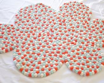 Felt Ball Cloud Rug 110cm Width - Kids or Nursery Rug - Floormat - Coral Mint - In Stock