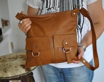 Vintage LEATHER MESSENGER BAG ,  women's leather bag....(438)