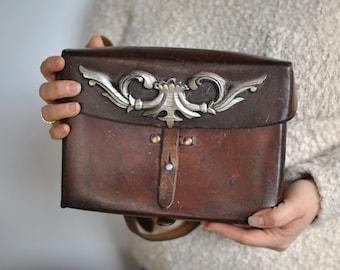 Vintage HANDMADE LEATHER messenger bag ,  leather bag....(355)