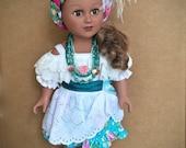 18 INCH DOLL CLOTHES. Bahia Dress, Baiana Headwrap, and traditional Bahia Jewelry.  Ola' Brasil! for 18-inch dolls