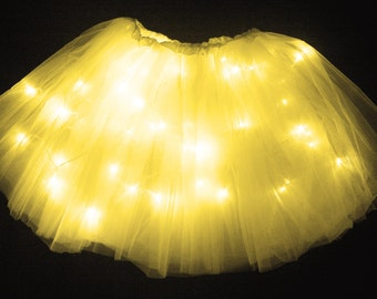 Child Yellow LED Light up Tutu Skirt with Batteries Fits Toddler 2 to Girls 8