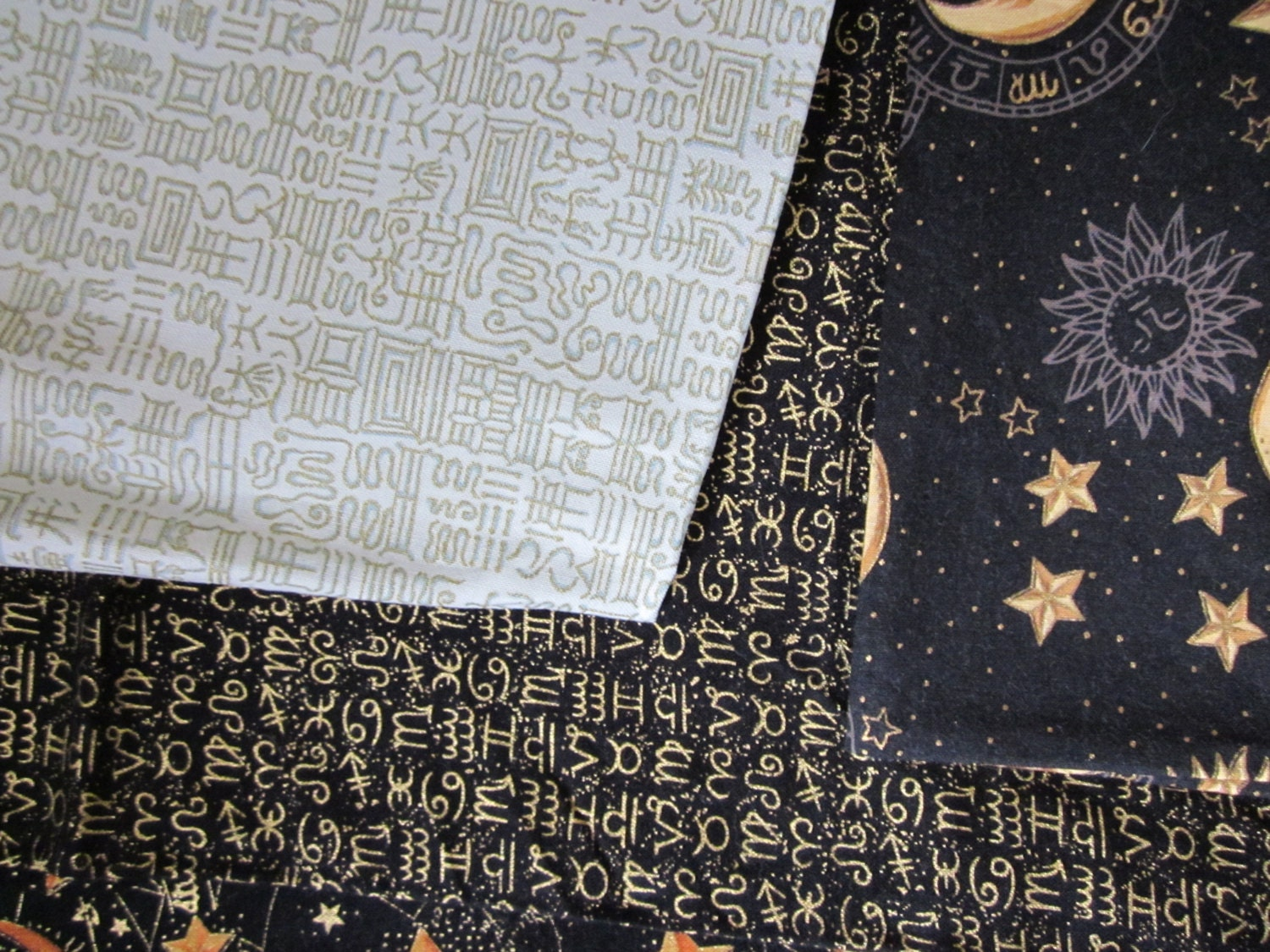 Sun stars and moon fabric astrology star sign by for Fabric with moons and stars